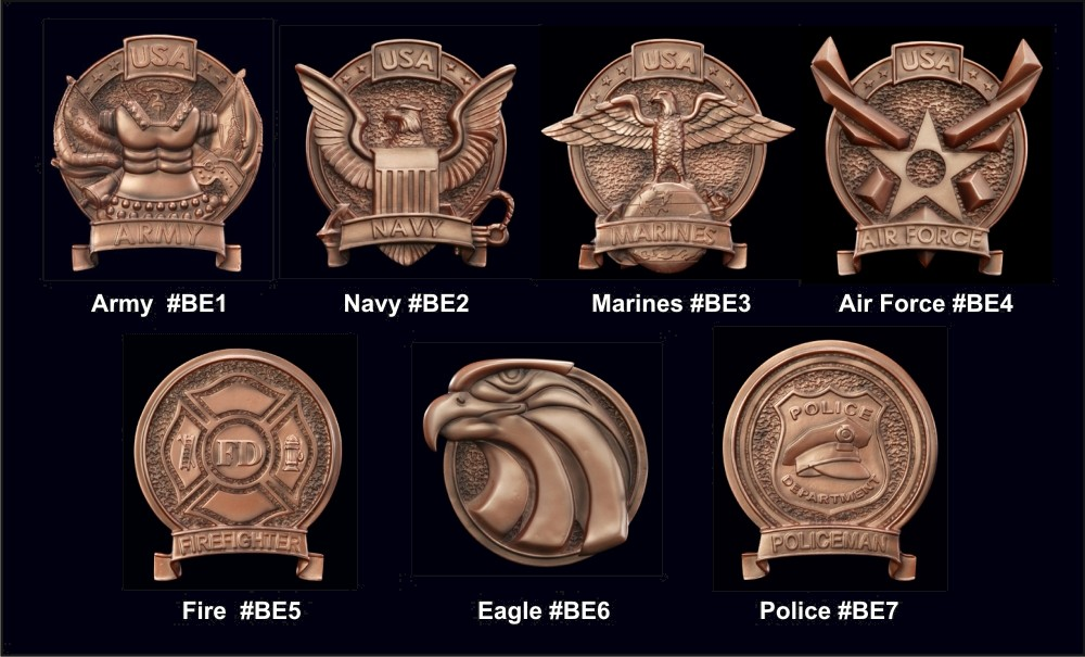 Military Fireman Emblems for Plaques